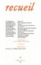 Revue Recueil, numéro 13, éditions Champ Vallon