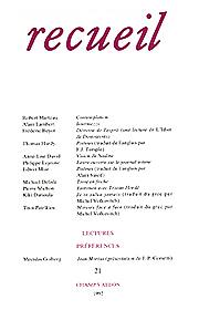 Revue Recueil – n°21 (1992) éditions champ vallon