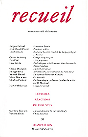 Revue Recueil – n°30 (mars – mai 1994)