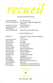 Revue Recueil – n°31 – Lectures d'écrivains (juin – août 1994)