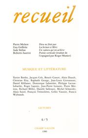 Revue Recueil – n°4/5 – Musique et littérature (1986)