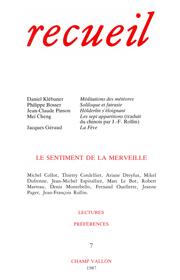 Revue Recueil – n°7 – Le sentiment de la merveille (1987)