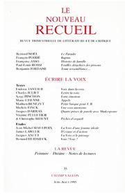 Le Nouveau Recueil – n°35 – juin/août 1995