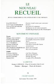Le Nouveau Recueil – n°36 – septembre/novembre 1995