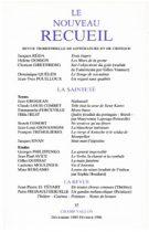 Le Nouveau Recueil – n°37 – La Sainteté – décembre/février 1996