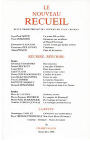 Le Nouveau Recueil – n°38 – Récrire, Réécrire – mars-mai 1996