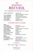 Le Nouveau Recueil – n°39 – La poésie dans la prose – juin-août 1996