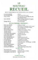 Le Nouveau Recueil – n°52 – D'un lyrisme critique – septembre/novembre 1999