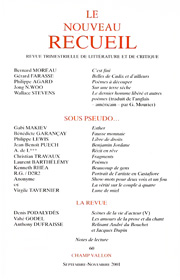 Le Nouveau Recueil – n°60 – Sous pseudo – septembre/novembre 2001