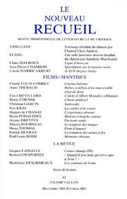 Le Nouveau Recueil – n°61 – Films / Hantises – décembre 2001/février 2002