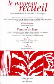 Le Nouveau Recueil – n°62 – L'amour du livre – mars/mai 2002