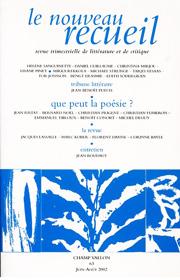 Le Nouveau Recueil – n°63 – Que peut la poésie ? – juin/août 2002