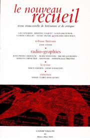 Le Nouveau Recueil – n°66 – Radio-graphies – mars/mai 2003