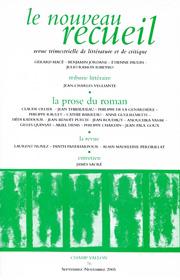 Le Nouveau Recueil – n°76 – La prose du roman – septembre/novembre 2005