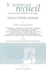Le Nouveau Recueil – n°85 – Lettres imaginaires – décembre 2007/février 2008