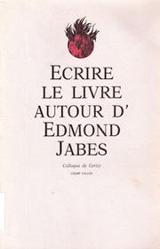 Écrire le livre autour d'Edmond Jabes – Richard Stamelman et Mary Ann Caws 1989