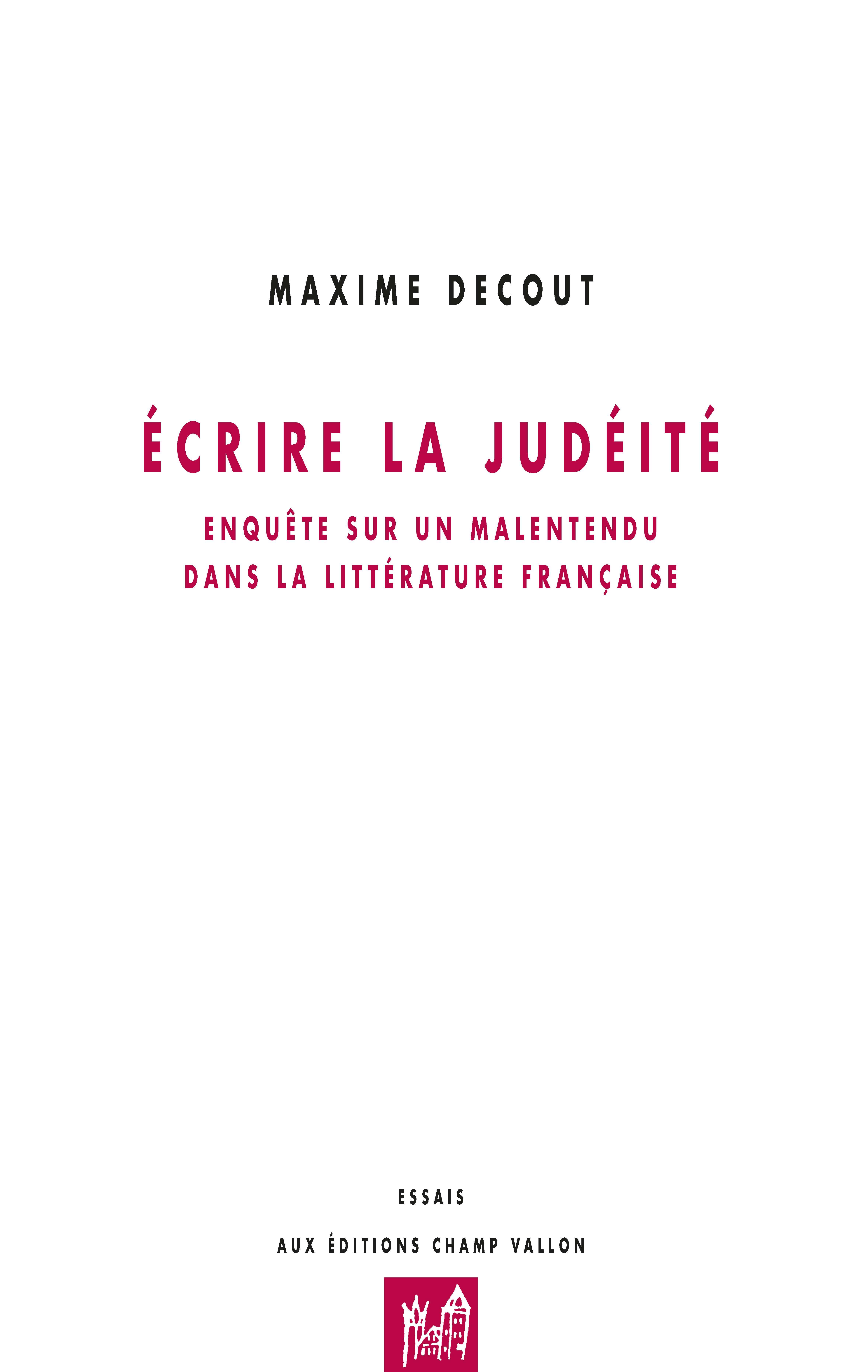 Ecrire la judéité Decout