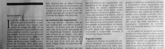 Le Monde des livres du 25 janvier 2019: Jean-Paul Goux: Sourdes contrées
